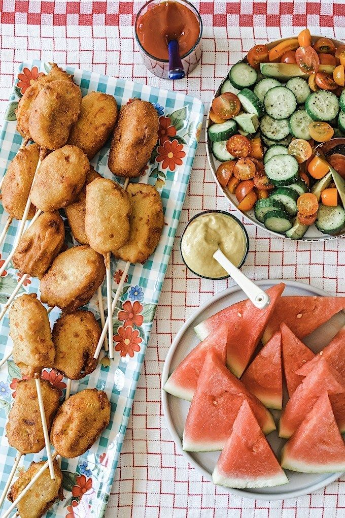 Green Chile Cheddar Corn Dogs Kids love these Green Chile Cheddar Corn Dogs are the ultimate summer indulgence, but homemade? Even better. Hot dogs fried with a green chile and cheddar cornmeal batter.