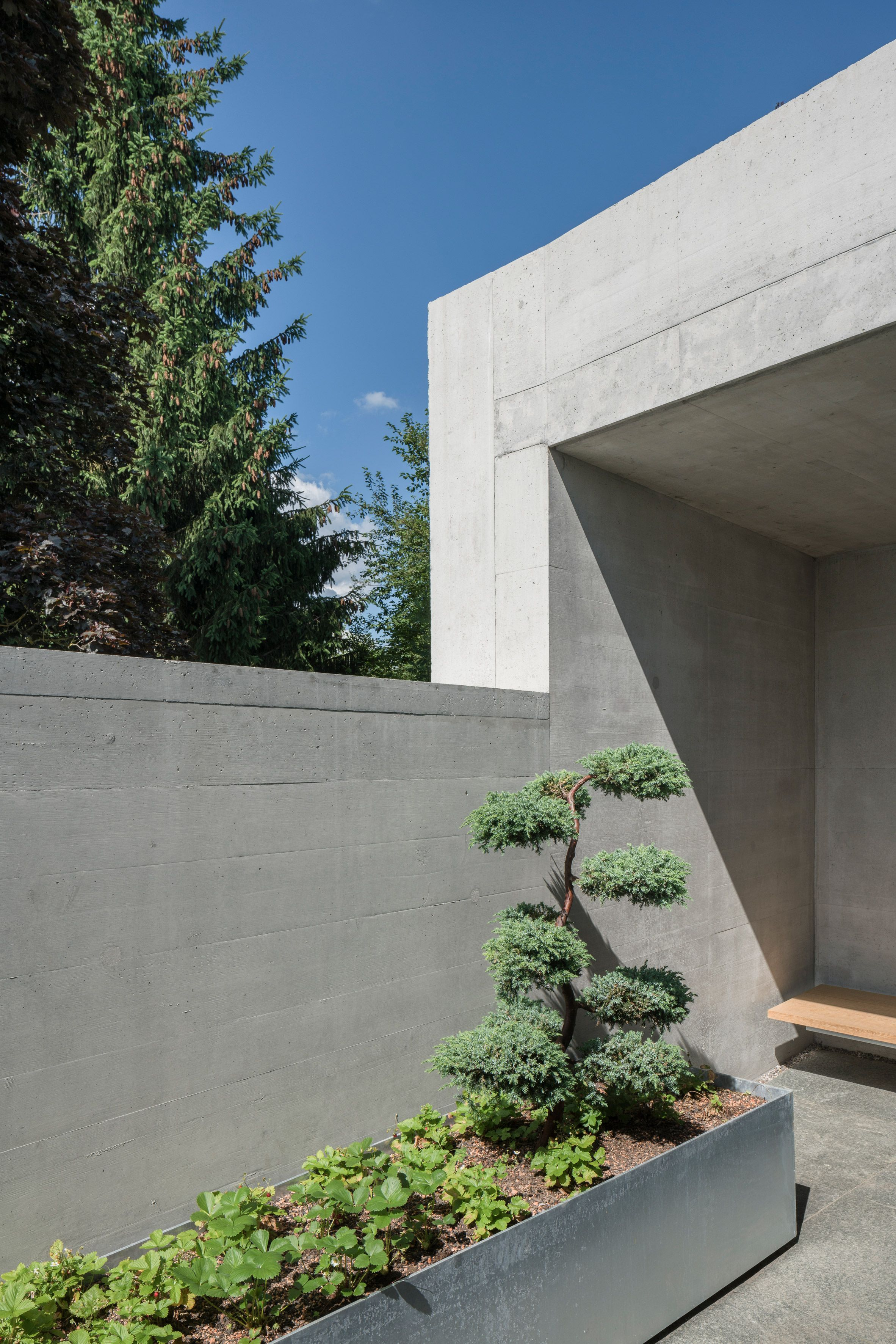 Raw Concrete Uf Haus In Bavaria Cantilevers Over Outdoor Terrace Concrete House Building Development Parking Design