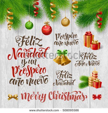 Imgenes de merry christmas in spanish and happy new year vector spanish merry christmas happy new year text feliz navidad y un prospero m4hsunfo
