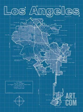 Los angeles artistic blueprint map art print by christopher estes christopher estes is raising funds for city blueprints artistic city map prints on kickstarter inspired by traditional blueprint style these artistic malvernweather Image collections