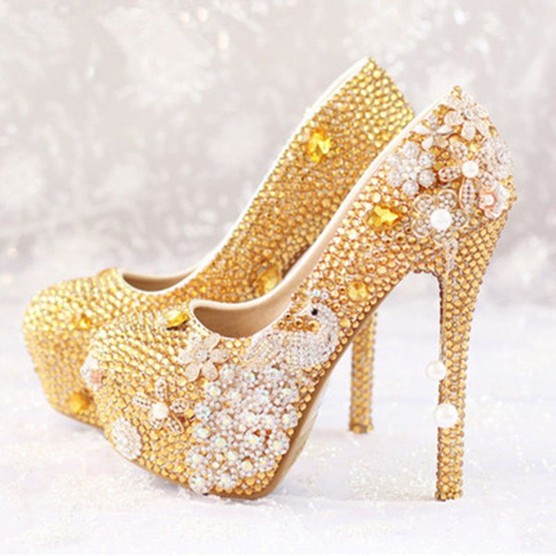 Luxus Hochzeit Pumpen Gold Diamant Kristall Plattform Hochhackigen Pumpe Schuhe Frauen Perle Hochzeit Schuhe Braut Partei St Gold Dress Shoes Heels Women Shoes