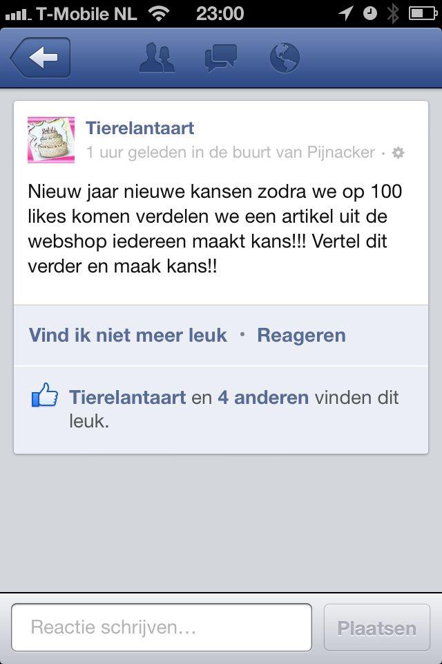 Like ons op http://www.facebook.com/tierelantaart en maak kans bij 100 like's op een geschenk van http://www.tierelantaart.nl