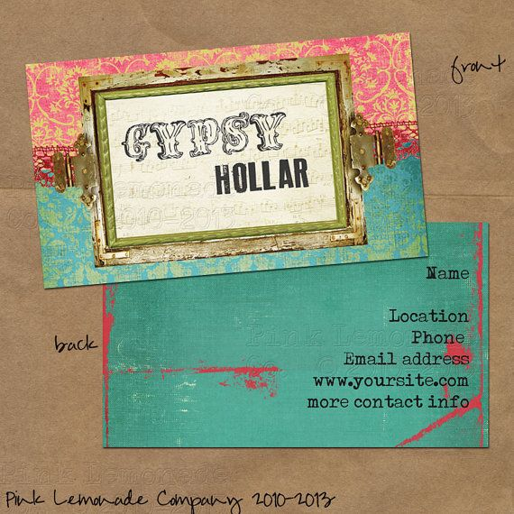 Gypsy hollar design business card design plus 500 cards front and gypsy hollar design business card design plus 500 cards front and back full color pink turquoise damask reheart Gallery