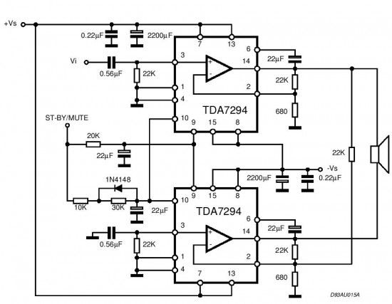 TDA7294 is a monolithic integrated circuit in Multiwatt15 package ...