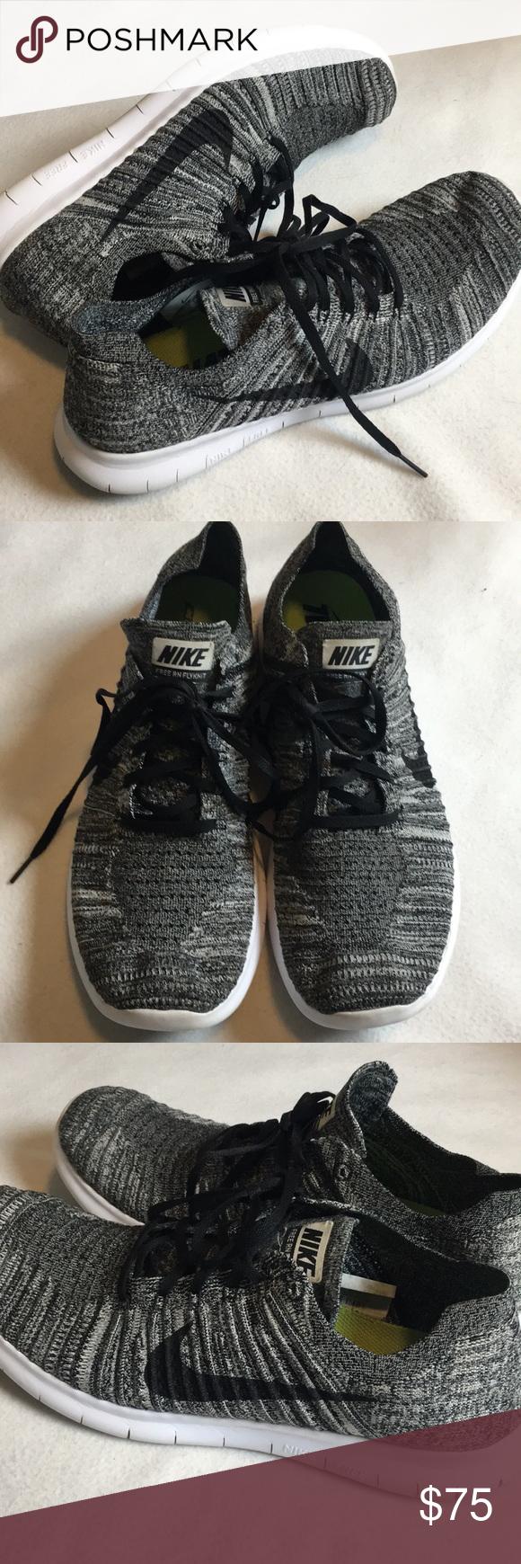 Nike Free RN Flyknit. Black and white. Black check black laces White soles.  Size 13 Men's .