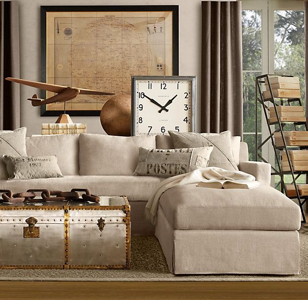 Belgian Track Arm Slipcovered Left Arm Sofa Chaise Sectional | Sectionals |  Restoration Hardware