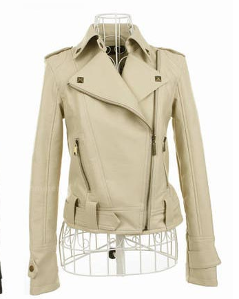 A faux leather moto jacket featuring a studded collar. Two zippered front pockets.