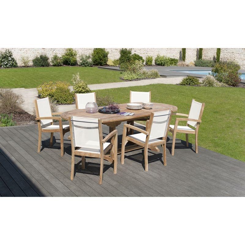 Salon de jardin en teck grade A, comprenant 1 table ovale ...