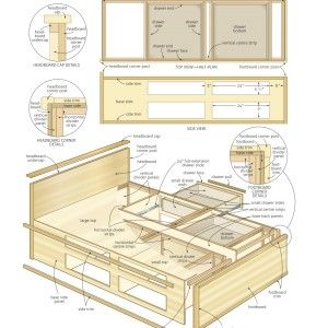 Bedroom Exciting Bed Frame With Storage Schematic For Do It Yourself With Complete Size Models Fo Bed Woodworking Plans Bed Frame Plans Bed Frame With Storage