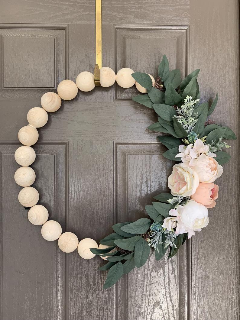 Photo of Light pink hoop peony, peony metal hoop, eucalyptus, peasant wreath, wooden balls, modern wreath, spring wreath, summer wreath