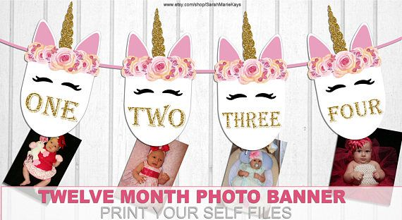 Printable Unicorn 12 Month Baby Photo Banner Unicorn Print Etsy In 2020 Unicorn Printables Unicorn Party Bags Unicorn Cupcakes Toppers