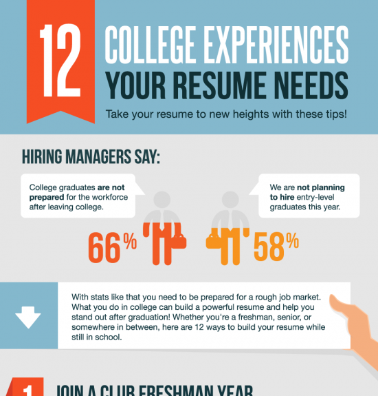 12 Ways To Build Your Resume In College Infographic
