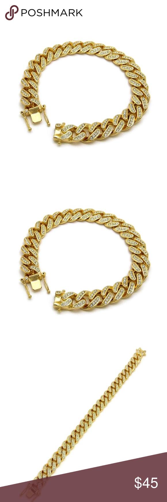 K gold plated luxury miami cuban bracelet hip hop fashion bling