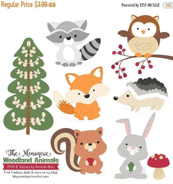 BIG AUTUMN SALE Premium Woodland Animals Clip Art & by AmandaIlkov