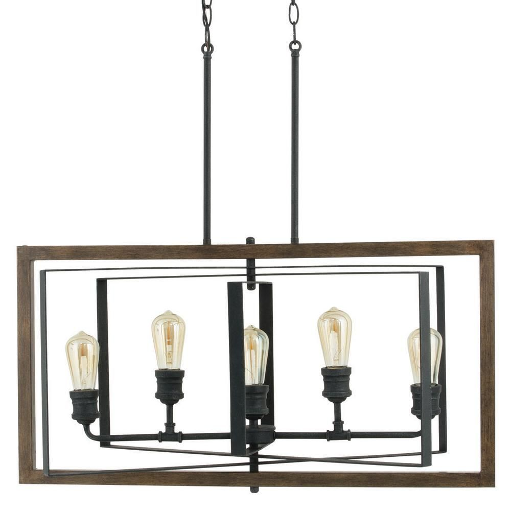 Home Decorators Collection Palermo Grove 5 Light Black Gilded Iron Linear Chandelier