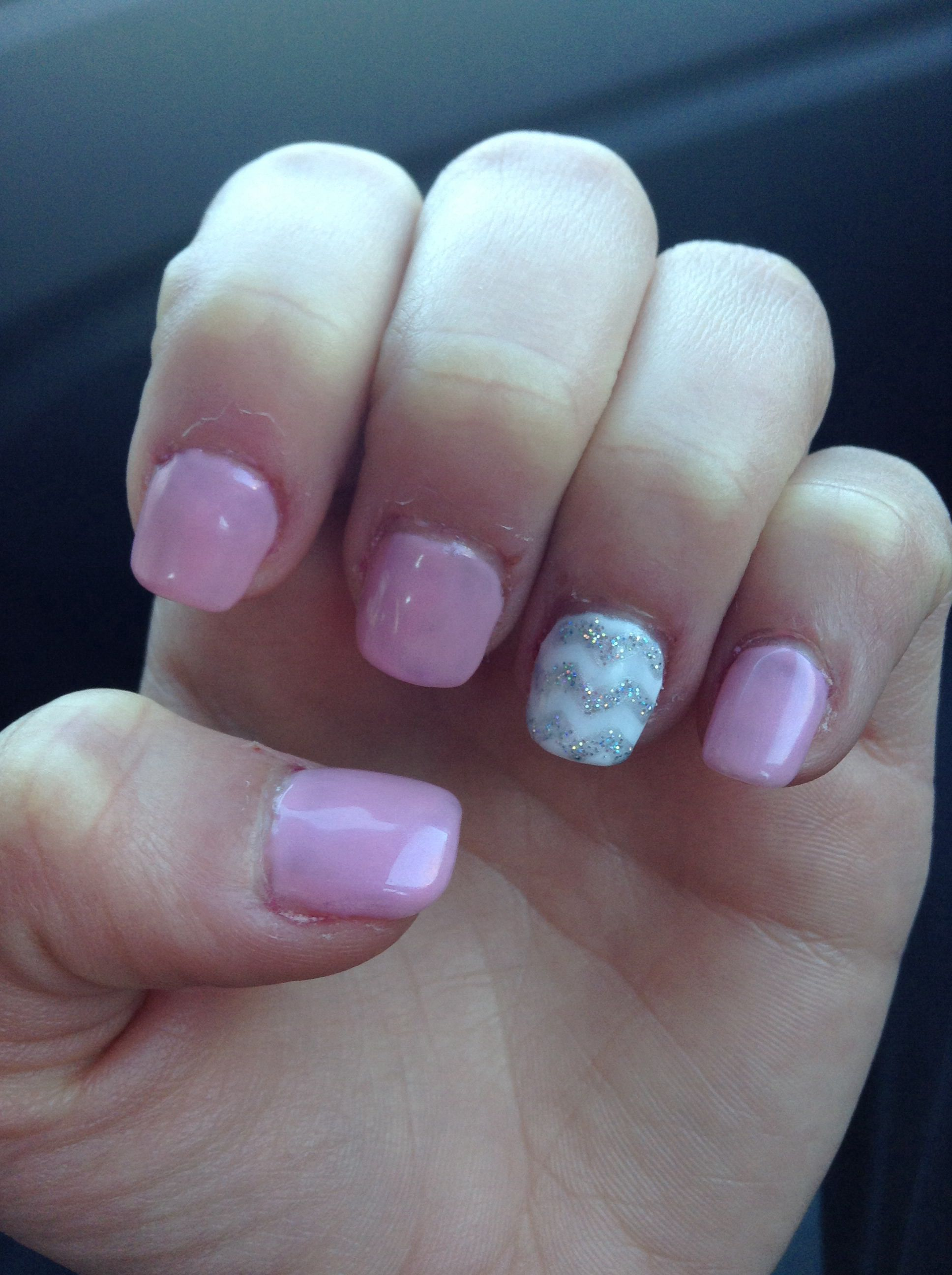 Light Pink And Chevron Acrylic Nails