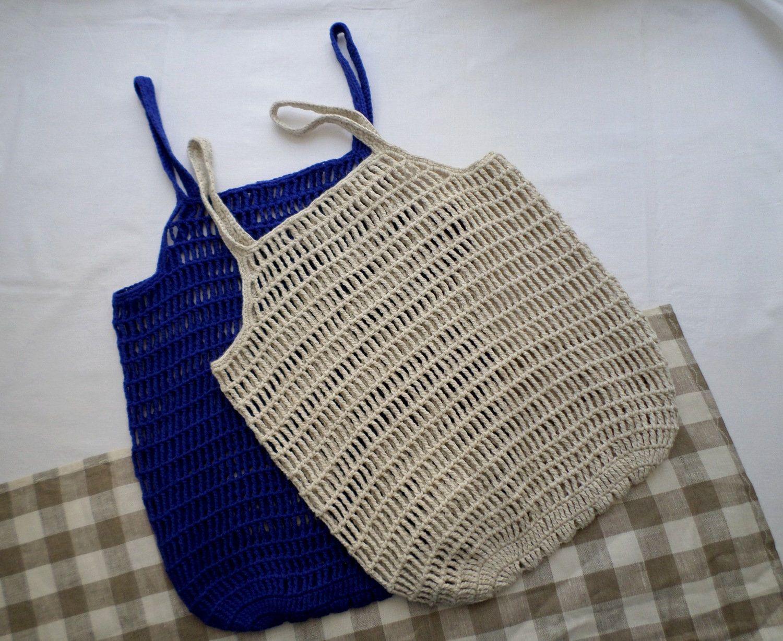 market tot Crochet reusable grocery bag picnics or beach bag eco-friendly net bag cotton linen grocery bag