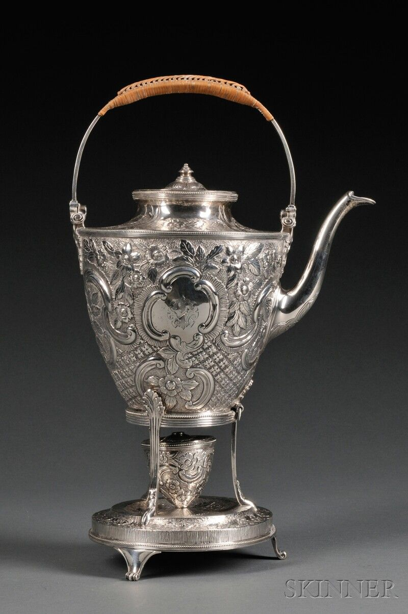 English Silver Kettle on Stand, London, 1790, maker's mark possibly for Robert…