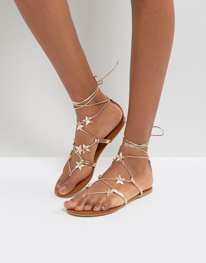 NEW LOOK STAR LACE UP FLAT SANDAL GOLD. #newlook #shoes