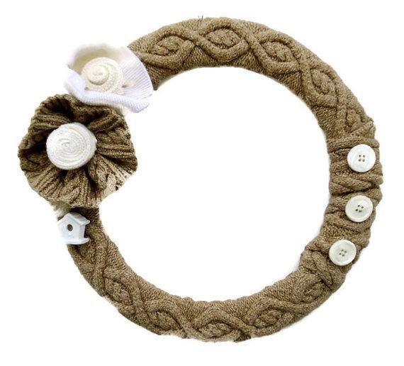 Cable Knit Fall Wreath Neuturals Sweater Wreath by nanniepannie, $50.00