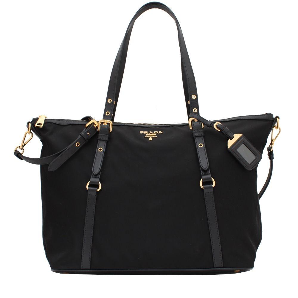 1bd5a9f3d72f Prada BR4253 Tessuto Nylon & Soft Calf Leather Trim Top Zip Tote Bag ...