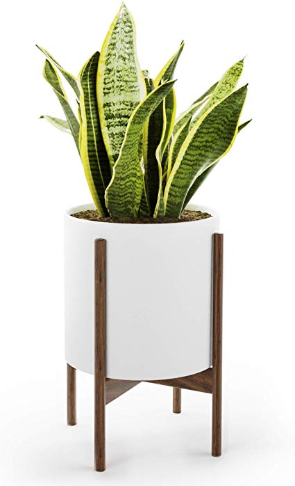 Amazon Com Mid Century Planter With Stand American Walnut Matte White Ceramic Planter W Drainage White Ceramic Planter Plant Stand Indoor Large Plant Pots