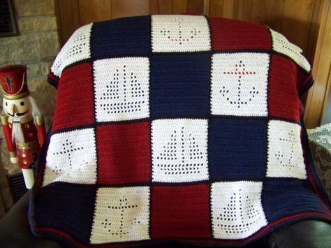 Downloadable Pattern - Crocheted Baby Afghan - Nautical Theme Boats and Anchors