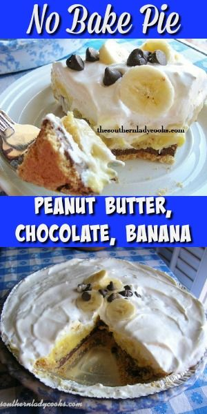 NO BAKE! Peanut butter, chocolate, banana pie is so easy and delicious. Great reviews on this pie. #pie #peanutbutter #chocolate #banana #nobake #bananapie