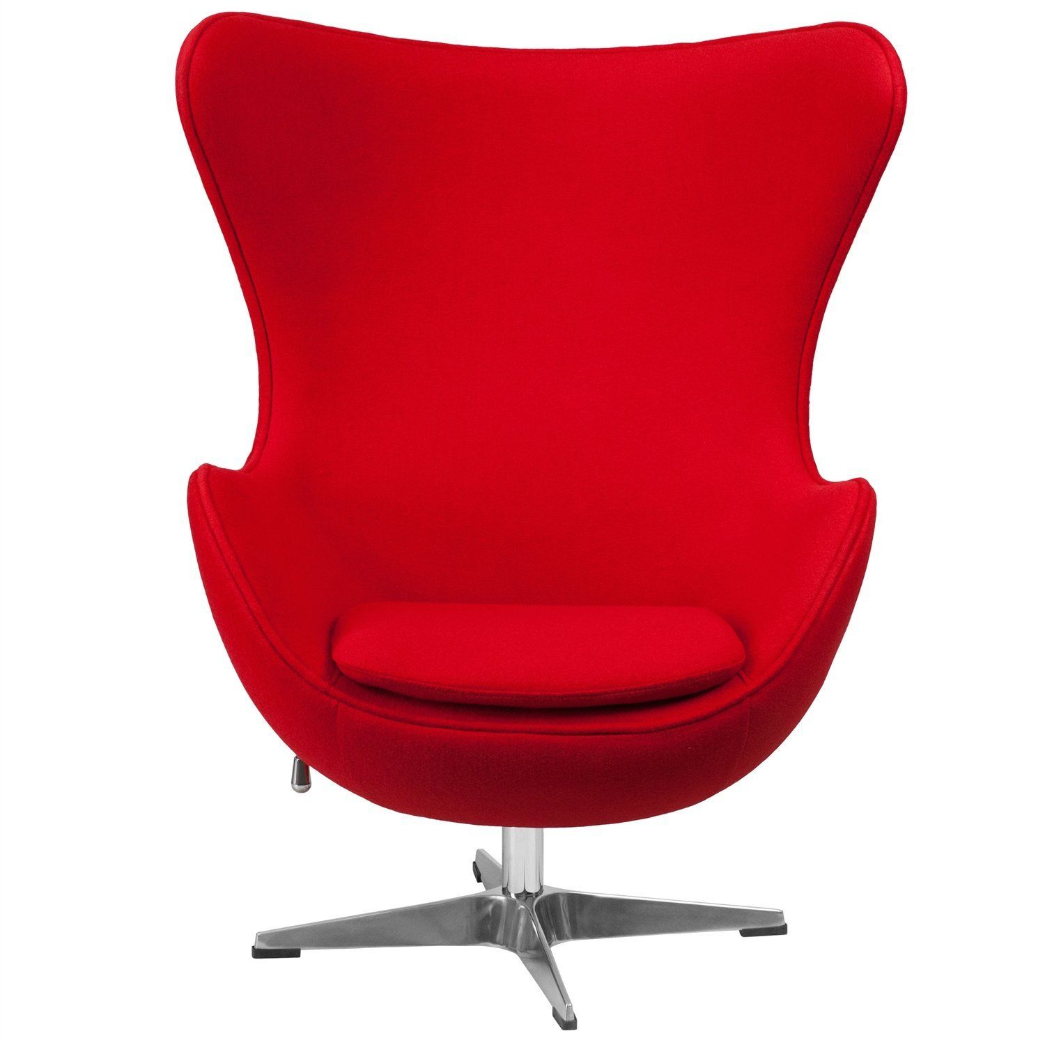 red wool fabric contemporary armchair egg shaped living