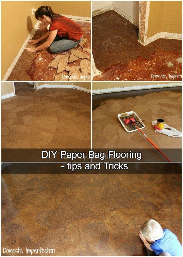 DIY Paper Bag Flooring #paperbagflooring