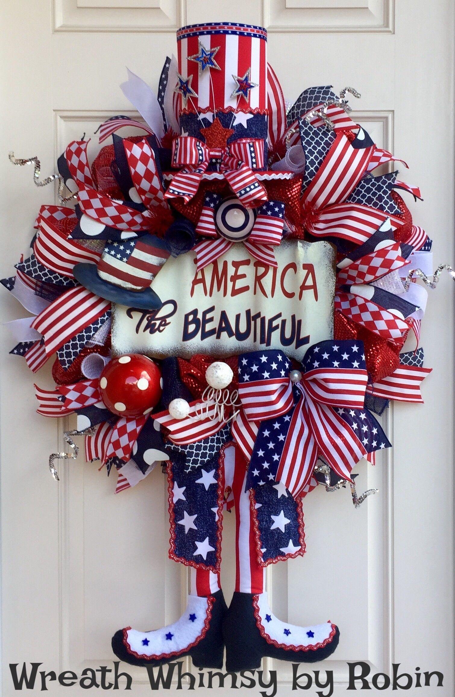 Americana christmas ornaments - Patriotic Deco Mesh Uncle Sam Wreath Front Door Wreath Summer Wreath July 4 Th Memorial Day Patriotic Decor Americana Decor