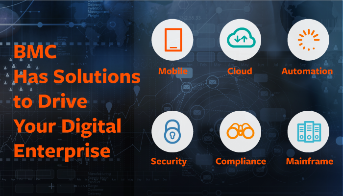 BMC Digital Enterprise Management is a set of innovative IT solutions designed to make digital business fast, seamless, and optimized from mainframe to mobile to cloud and beyond.