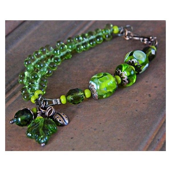 Green Lampwork bracelet Green Bohemian Lampwork bracelet Artisan glass bracelet Rustic Boho beaded bracelet Handmade glass beads,