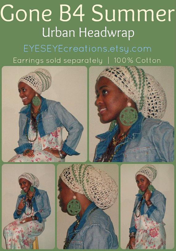 Crochet Headwrap Headdress Tam Dreadlock African Regal Rasta
