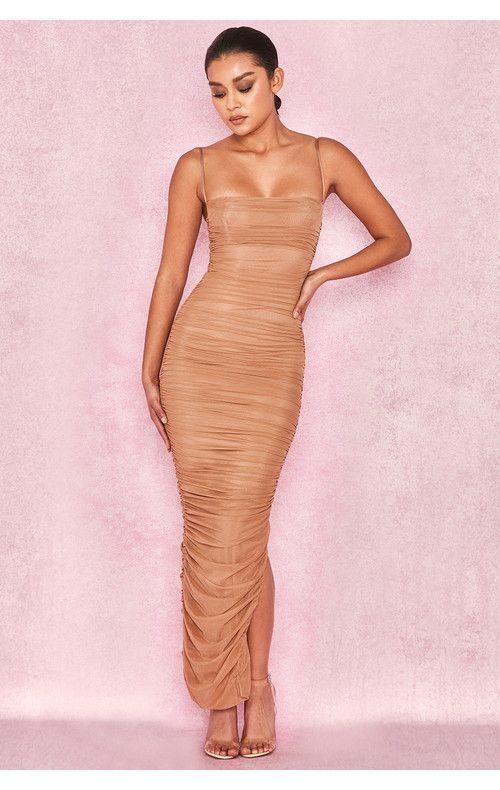 700617ec5cb Fornarina Tan Organza Mesh Maxi Dress