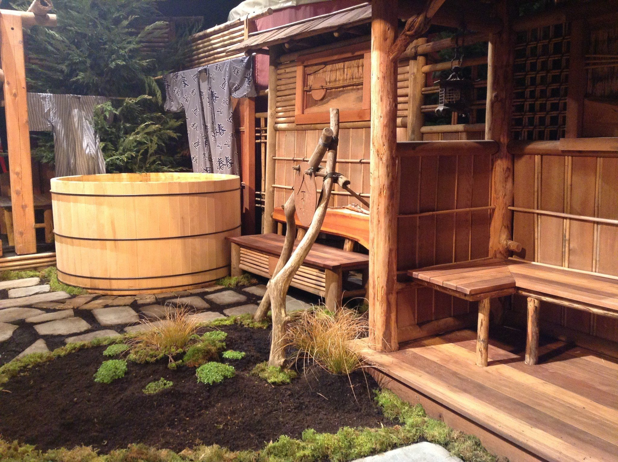 Wonderful Outdoor Japanese Bath With Wooden Benches Also Wooden