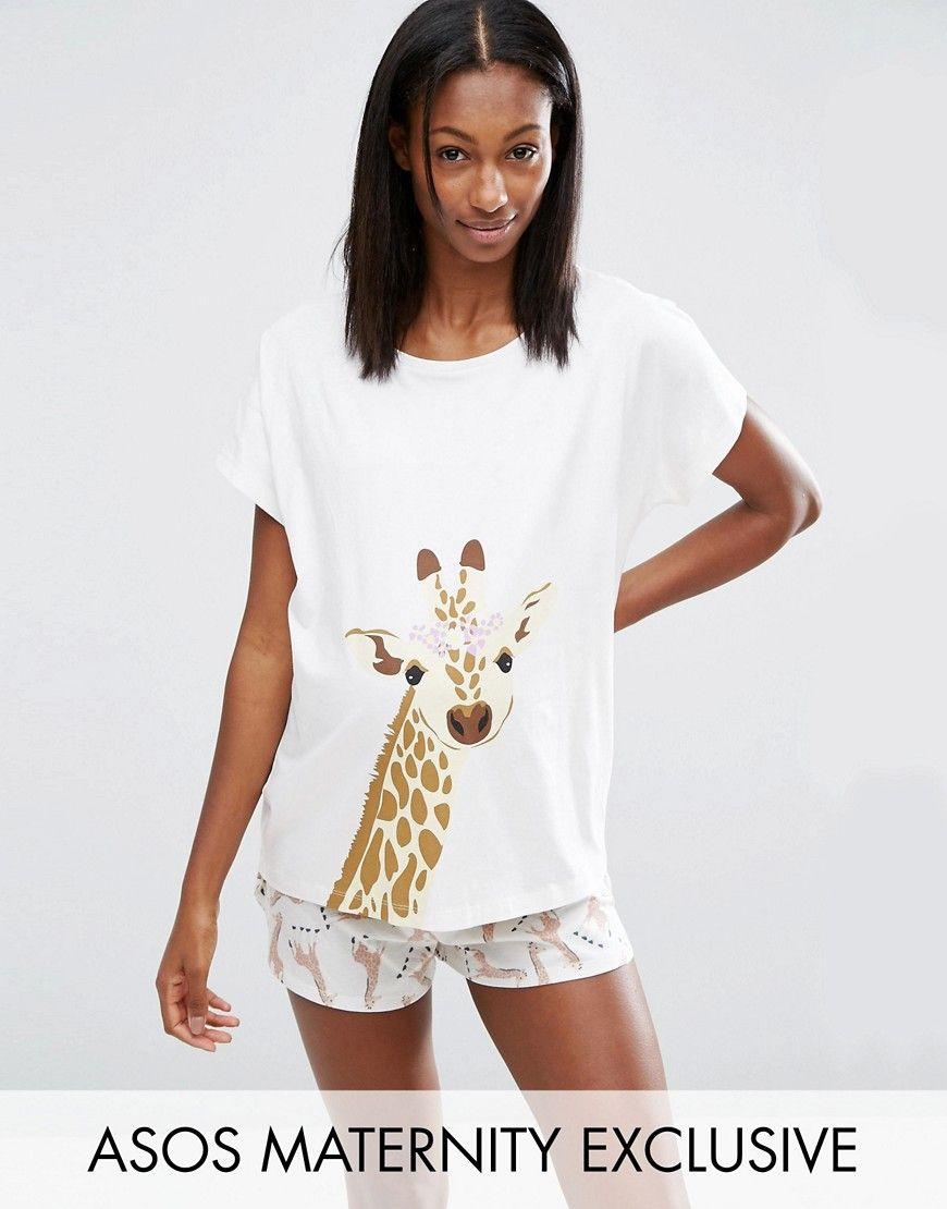 3a29d46ed6 ASOS Maternity Giraffe Pyjama Tee and Shorts Set