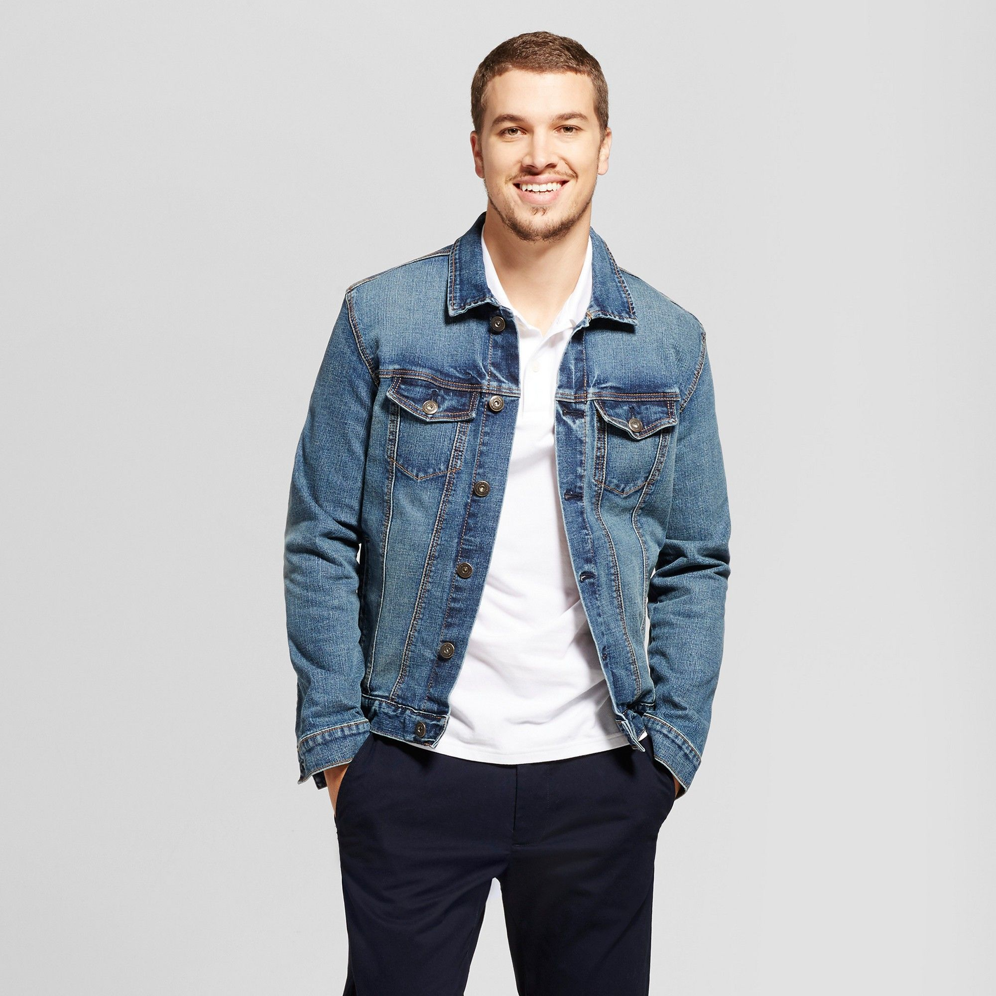 Men's Standard Fit Denim Trucker Jacket Goodfellow & Co