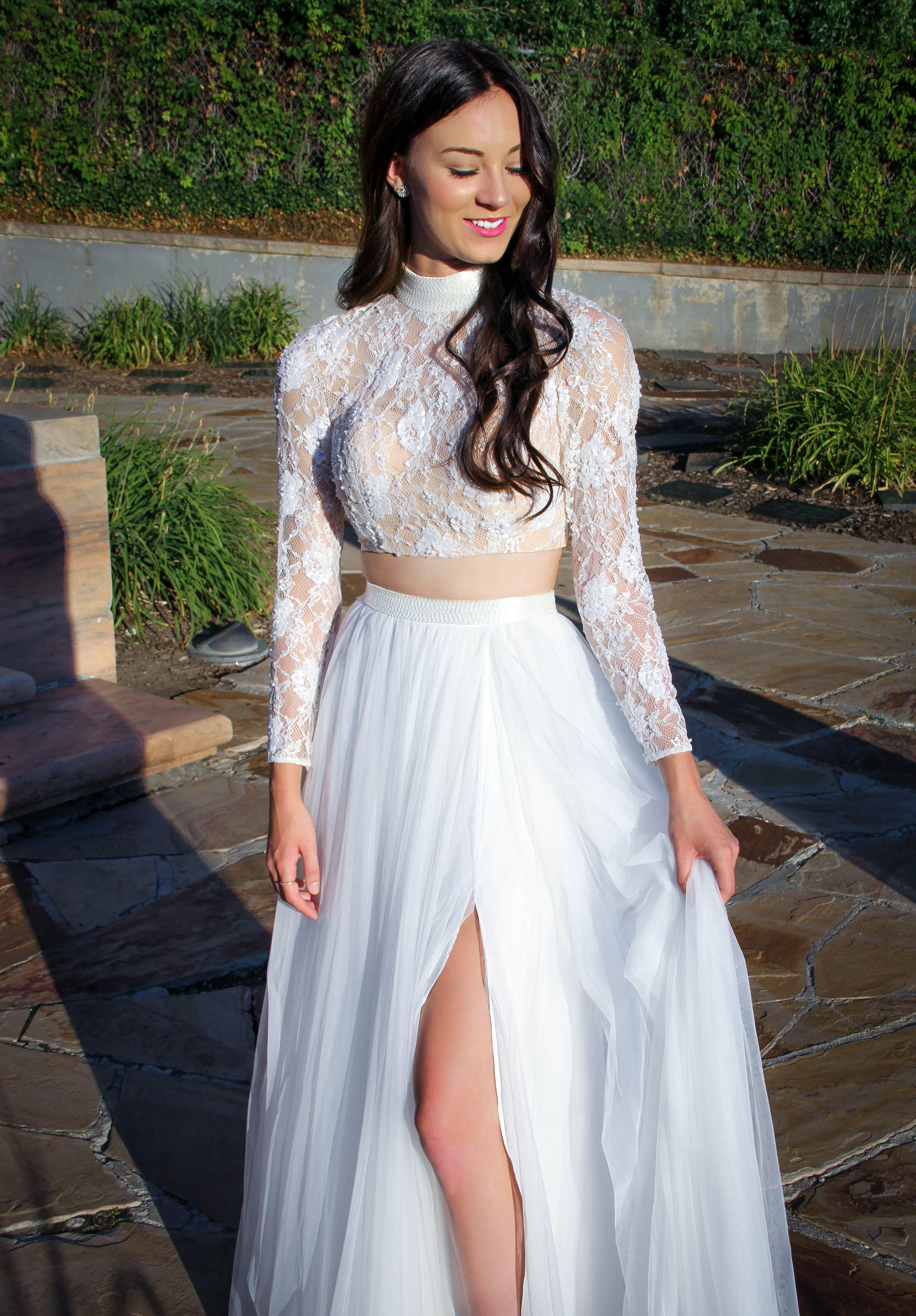 Sherri hill white piece lace longsleeve top with beading and flowy