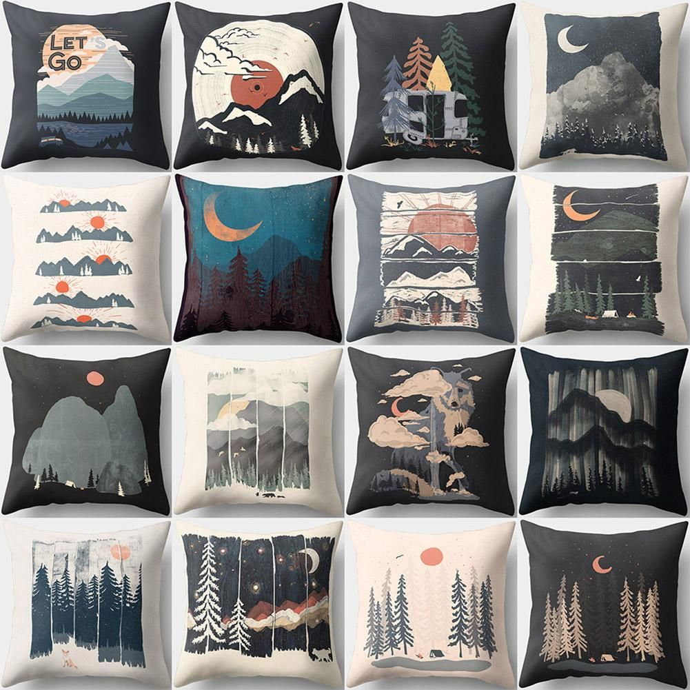 Photo of 18 Inch Sunset Night Moon Forest Pillow Case Cushion Cover Home Sofa Bed Decor – as the picture d