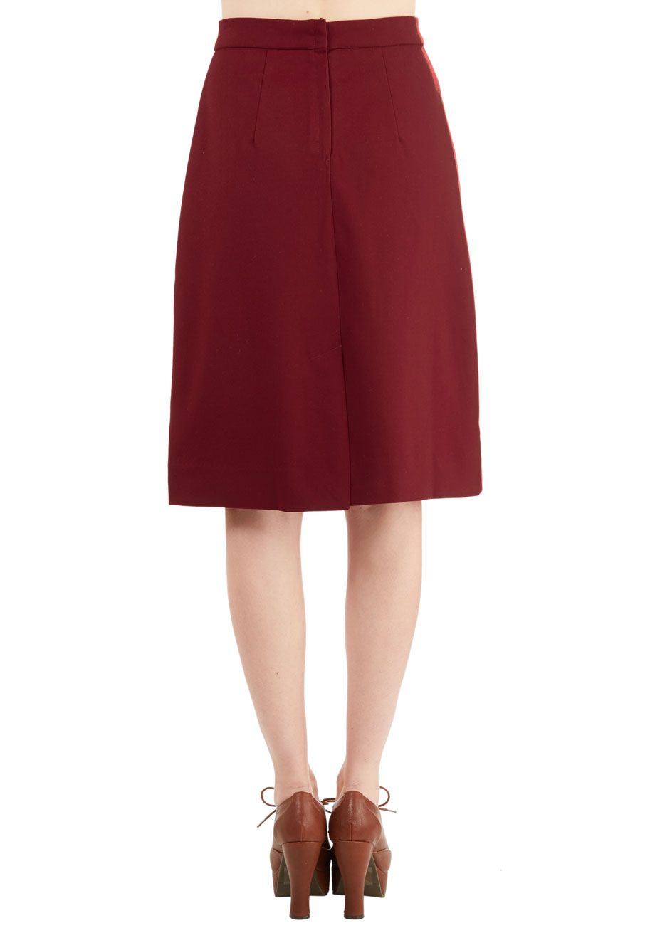 94a9b71de Aptitude for Anthropology Skirt in Wine. Taking the podium in this wine-red  skirt by Pink Martini, you feel cool and confident, ready to enlighten your  ...