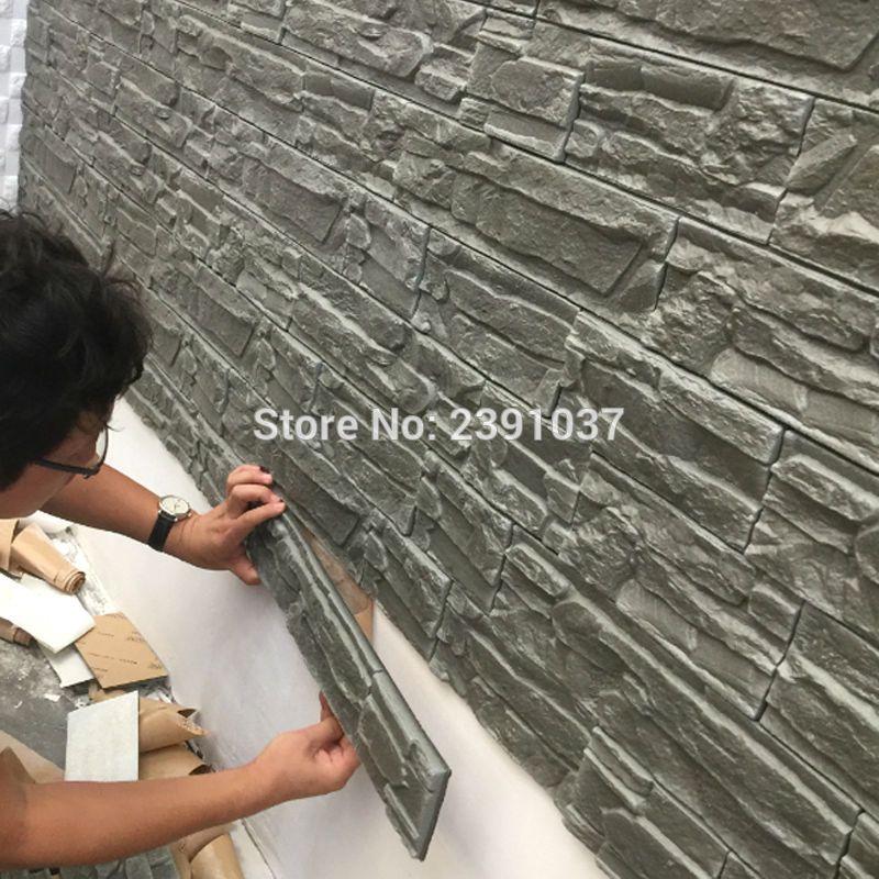 12pcs 71*39cm New PE Foam 3D 3d wall panels Flexiable Brick 3d wall ...