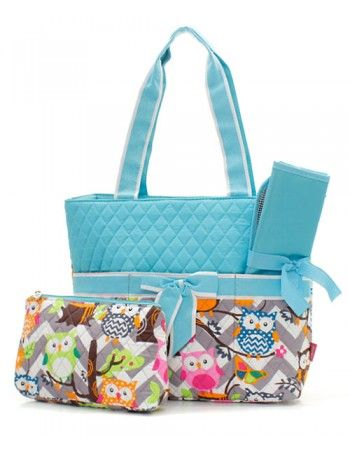 Quilted Owl Chevron Diaper Bag (3 color options) $29.95