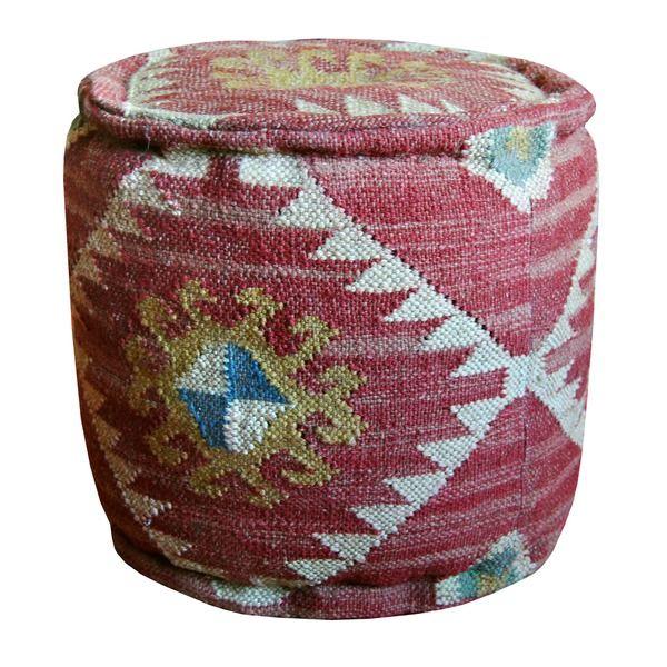herat oriental handmade burgundy kilim pouf ottoman india life