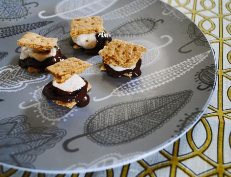 The other day I found myself with bars of Michael Mischer salted chocolate, some Mari's New York mini orange-flavored marshmallow, and some plain ole' graham crackers. They looked at me with longing eyes, and I knew some s'mores had to...