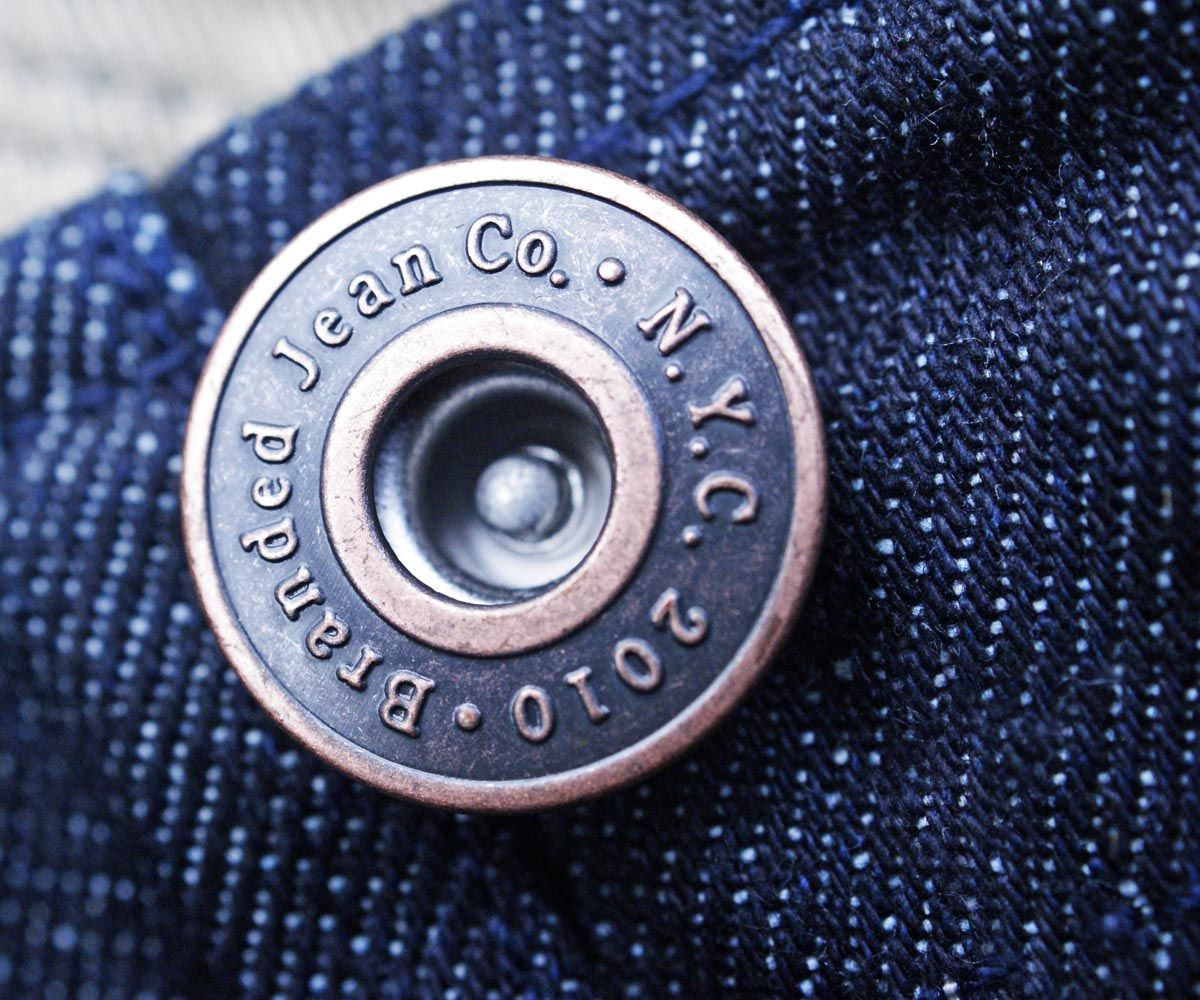 Jean buttons: no-sew buttons for use on jeans and jackets. To use, push the tack through the fabric, and then hammer the tack through the button shank. To use, push the tack through the fabric, and then hammer the tack through the button shank.