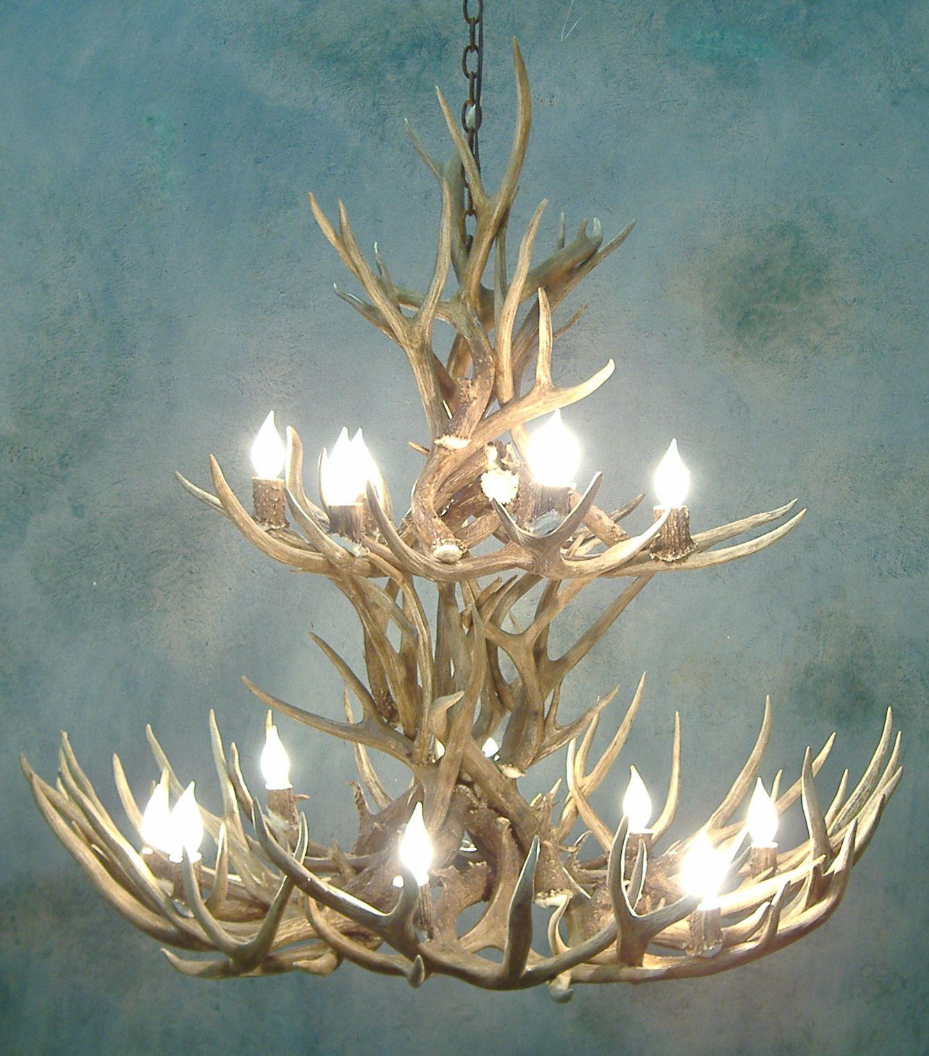 Antler Foyer Lighting : Peakantlers mule deer antler tier chandelier