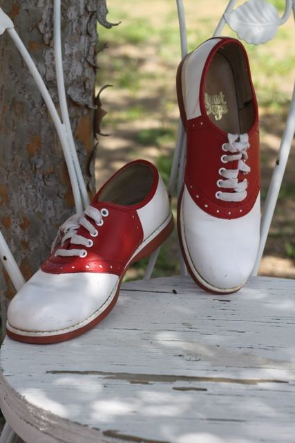 Vintage Red and White Saddle Shoes