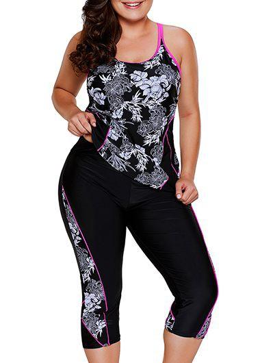 V Neck Keyhole Back Plus Size Swimdress and Shorts | Rotita.com - USD $29.11 7