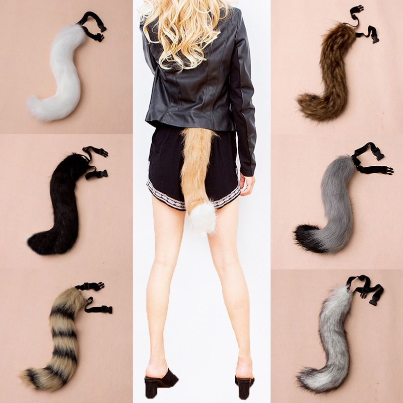 Adjustable Faux Fur Costume Tail Halloween Cosplay Fox  Wolf  dog Fursuit Tail